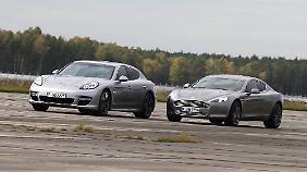 Während der Panamera fast ein Megaseller ist, fristet der Aston Martin hierzulande eher ein Nischendasein.