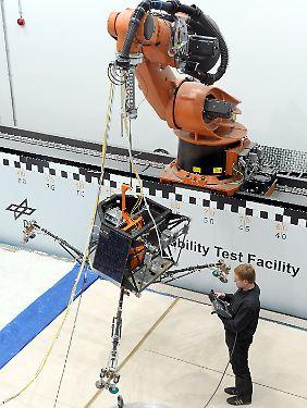 """Silvio Schröder vom DLR bereitet am 11. Dezember 2012 das """"Philae""""-Modell für einen Abwurftest vor. Im November 2014 soll """"Philae"""" auf einem Kometen landen."""