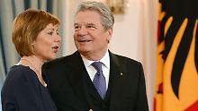 Schadt und Gauck beim Neujahrsempfang  in Berlin.
