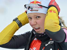 Miriam Gössner ist schnell in der Loipe, aber schwach am Schießstand.