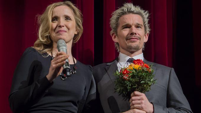 """Julie Delpy und Ethan Hawke stellen bei der Berlinale ihren neuen Film """"Before Midnight"""" vor."""
