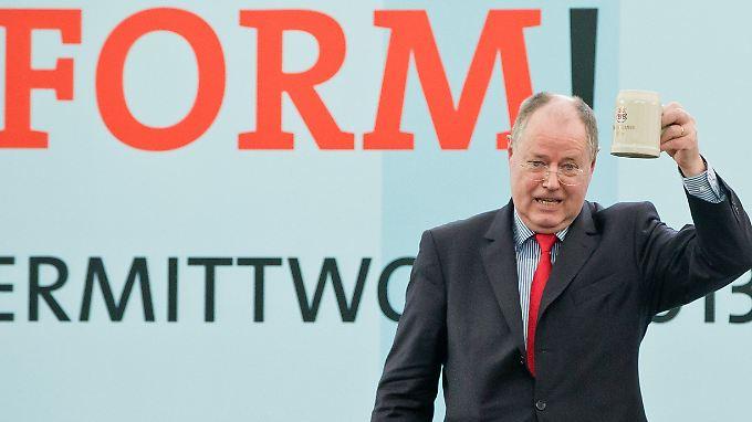 Fühlte sich heimisch im bayerischen Bierzelt: SPD-Kanzlerkandidat Peer Steinbrück.