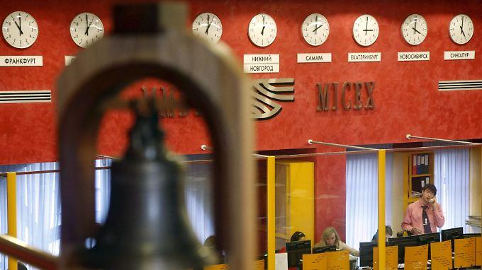 Blick in den Moskauer Börsensaal