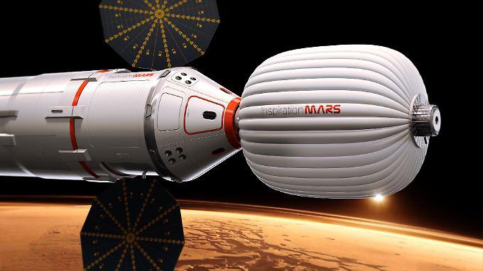 Computergrafik von Inspiration Mars des von ihnen geplanten Raumschiffs.