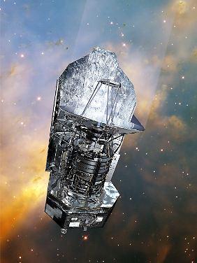 """Computergrafik des europäischen Super-Teleskops """"Herschel""""."""