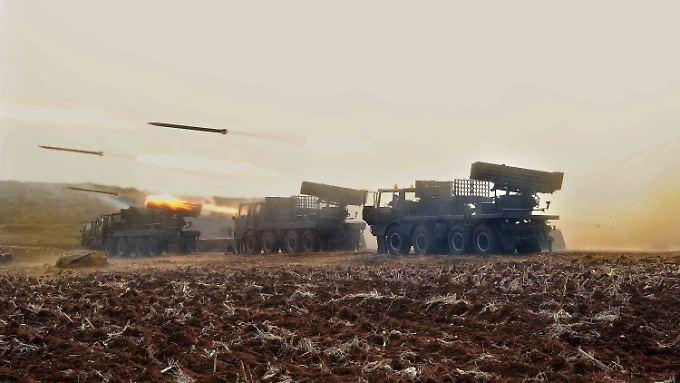 Nordkoreanisches Militär bei einer Übung. Das Land rüstet immer weiter auf.