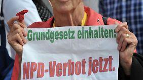 Proteste gegen die NPD in Erfurt.