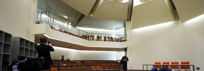 In dem im Umbau befindlichen Raum 101 des Oberlandesgerichts München soll ab dem 17. April der NSU-Prozess beginnen.