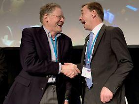 Die derzeitigen Sprecher der Partei Alternative für Deutschland: Konrad Adam (l.) und Bernd Lucke.