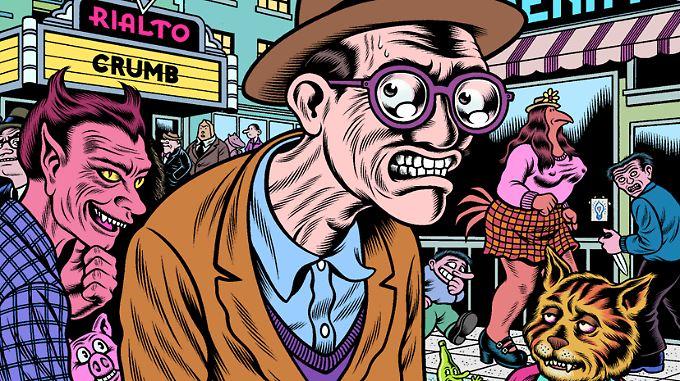 """Robert Crumb - wie ihn US-Zeichner Charles Burns sieht. Es handelt sich um das Cover des besprochenen Bandes """"A Tribute to Crumb""""."""