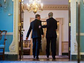 Weitere Themen der beiden Außenminister waren Syrien, der Iran und die Verhandlungen über eine große Freihandelszone zwischen Europa und den USA, die in diesem Sommer beginnen sollen. Und natürlich der Besuch von US-Präsident Obama in Berlin im Juni.