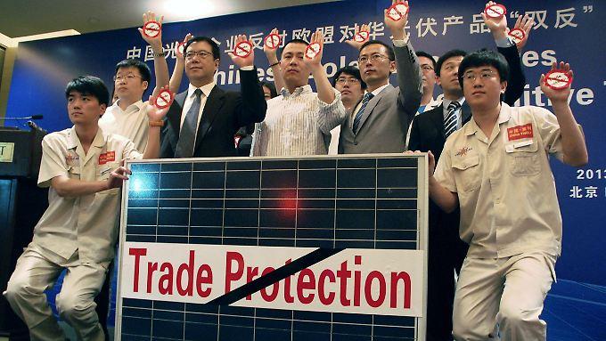 Chinas Solarhersteller machen Front gegen Strafzölle der EU.