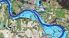 Auch weiter nördlich tritt die Elbe noch großflächig über die Ufer. Hier ist, ebenfalls am 09. Juni, der Flutstand in Wittenberge im Nordwesten Brandenburgs, das auch vom Wasser der kleinen Stepenitz von Norden her bedroht wird, zu sehen. Tags zuvor wurde die Evakuierung für Teile der Stadt ausgerufen. Mit 7,85 Metern steht die Stadt bereits an diesem Tag rund einen halben Meter über dem bisherigen Rekordstand von 2002 - Tendenz weiter steigend. Die roten Linien markieren überschwemmte Straßen.