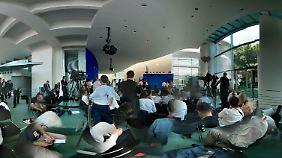Volles Haus im Kanzleramt: Die Journalisten warten auf Merkel und Obama.