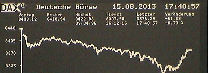 Der Dax am Donnerstag - kurz vor Beginn der Schlussauktion: Am Ende stand ein Minus von 0,73 Prozent auf 8376,29 Punkte.