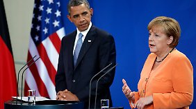 US-Präsident Obama hatte Mitte Juni Berlin besucht. Hier im Gespräch mit Kanzlerin Merkel.