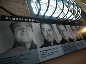 Fotografien berühmter Insassen von Alcatraz, links Al Capone.