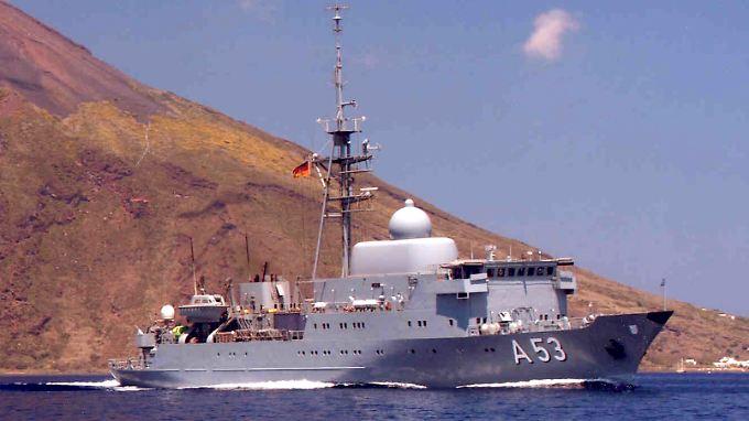 """Das Flottendienstboot """"Oker"""" kreuzt vor Syrien. Über dessen genauen Auftrag war bislang nichts bekannt geworden. Ebenso ist unbekannt, ob die Obhörprotokolle des BND von der """"Oker"""" stammen können."""