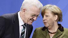 Verstehen sich prima: Kanzlerin Angela Merkel und Winfried Kretschmann, Baden Württembergs grüner Ministerpräsident.