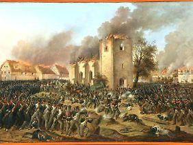 Die Erstürmung von Probstheida: Napoleons Niederlage nimmt ihren Lauf. (Gemälde von Ernst Wilhelm Straßberger, 1796–1866)