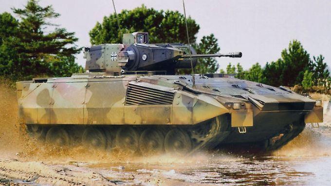 Ein Schützenpanzer des Typs Puma, der von den deutschen Rüstungsunternehmen Krauss-Maffei Wegmann (KMW) und Rheinmetal entwickelt und produziert wird.
