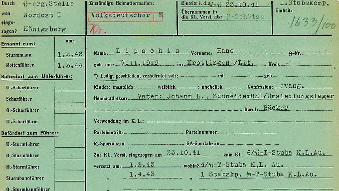 Foto der Personalakte des ehemaligen Rottenführers Hans Lipschiz in Auschwitz-Birkenau.