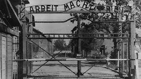 Am Eingang zum KZ Auschwitz. Hier hatte Lipschis von 1941 bis 1943 Dienst als Wachmann.