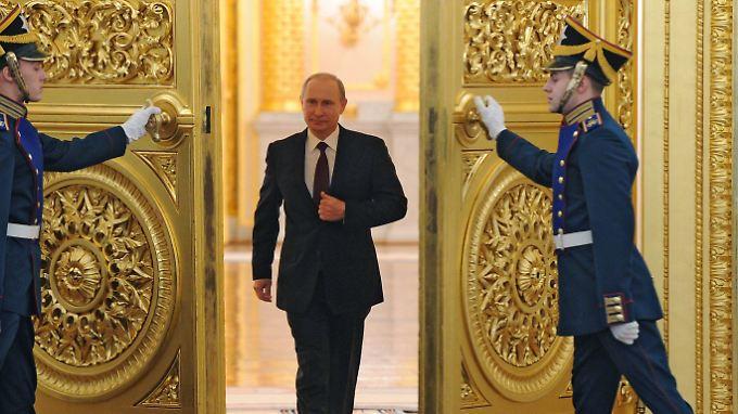 Wladimir Putin hält eine Rede an die Nation. Die Ansprache passt zum umstrittenen Verbot von Homosexuellen-Propaganda.