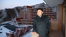 Kim Jong Un besichtigt ein fast fertiggestelltes Luxus-Skiressort - während die nordkoreanische Bevölkerung hungert.