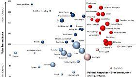 """Die Kommunikationsagentur NRPP erklärt den Zusammenhang von Alkoholkonsum und politischen Präferenzen in einer Grafik. Sie heißt: """"Die Politik des Bieres""""."""