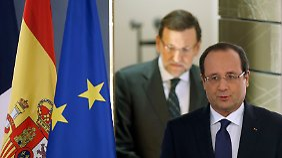 Frankreichs Präsident Francois Hollande (vorn) und Spaniens Regierungschef Mariano Rajoy.