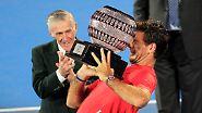 Das Vorbereitungsturnier in Sydney hat Juan Martin del Potro gewonnen - den Kampf gegen den Siegerpokal nicht.
