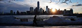 Sonnenaufgang über Manhattan: Die Nacht auf den Valentinstag brachte der US-Ostküste reichlich Neuschnee.