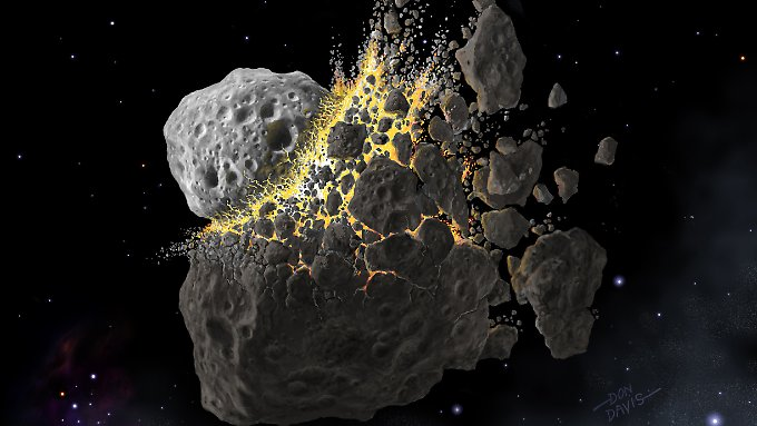 Before about 160 million years collided two asteroids between Mars and Jupiter. balances arising fragments have possibly led to the catastrophic impact on Earth, the dinosaurs 65 million years ago exterminated.