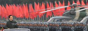 Chinas ehemaliger Präsident Hu Jintao bei einer Militärparade in Hong Kong.