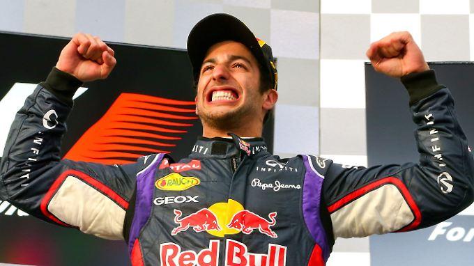 Zu früh gefreut: Daniel Ricciardo feiert in Melbourne seinen zweiten Platz.