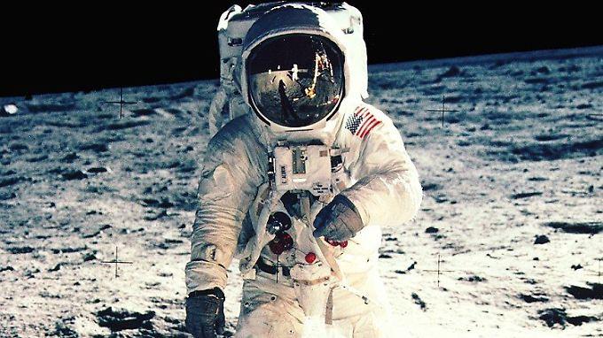 """Apollo-11-Astronaut Edwin """"Buzz"""" Aldrin auf dem Mond: Die Strategie, sich dem Erdtrabanten mit einem Mutterschiff und einer Landefähre zu nähern, stammt von Houbolt."""