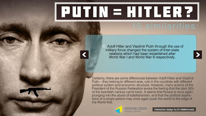 Das Ukraine Crisis Media Centre vergleicht Wladimir Putin mit Adolf Hitler.