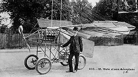 Dr. Trajan Vuia mit seinem fliegenden Auto im Jahr 1903.