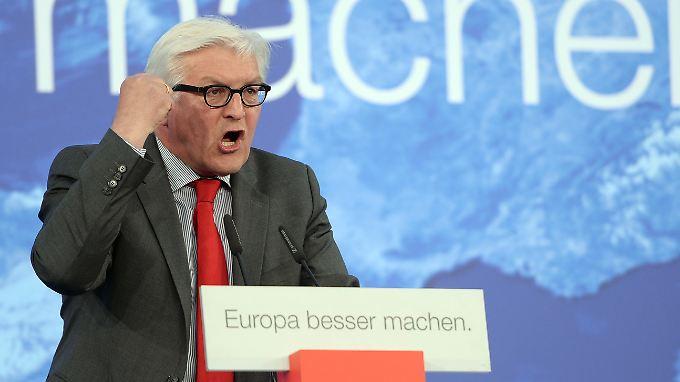 """Frank-Walter Steinmeier will es sich nicht bieten lassen, als """"Kriegstreiber"""" beschimpft zu werden."""