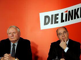 Oskar Lafontaine und Gregor Gysi teilten sich von 2005 bis 2009 den Vorsitz der Linken-Fraktion im Bundestag. 2009 zog Lafontaine sich aus gesundheitlichen Gründen ins Saarland zurück.
