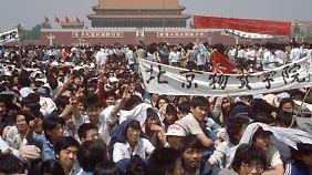 Die Studenten in Peking trafen sich am Tian'anmen-Platz zum gemeinsamen Protest.