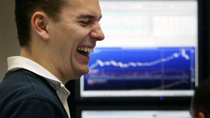 So sieht Freude auf dem Börsenparkett aus. Der Donnerstagshandel lieferte auch allen Grund dazu.