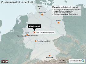 Absturz über dem Sauerland: Nach der Kollision mit dem Learjet dreht der beschädigte Eurofighter ab, um auf dem Fliegerhorst Nörvenich südwestlich von Köln zu landen.