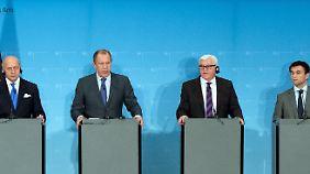 Schon im Juli kamen Fabius (l.), Lawrow , Steinmeier und Klimkin (r.) in Berlin zusammen.