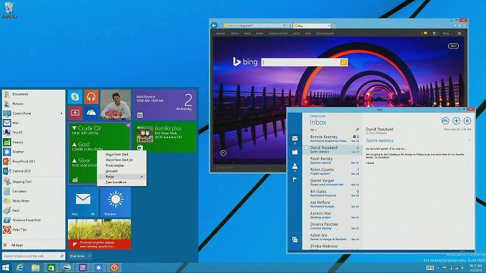 """So sieht vermutlich das """"Mini-Startmenü"""" von Windows 9 aus."""
