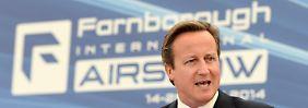 Rein politisches Manöver? Der britische Premier David Cameron bei der Eröffnungsrede in Farnborough.