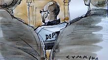 Die Gerichtszeichnung zeigt Troy Davis in der Mitte des Bildes.