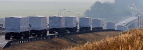 2000 Tonnen Lebensmittel sollen russische Lastwagen in die Ukraine bringen. An der Grenze ist aber vorerst Schluss.