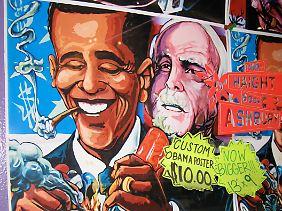 Moderne Zeiten im Spiegel der Straßenkunst: Ein kiffender Obama auf einem Plakat in Kalifornien.